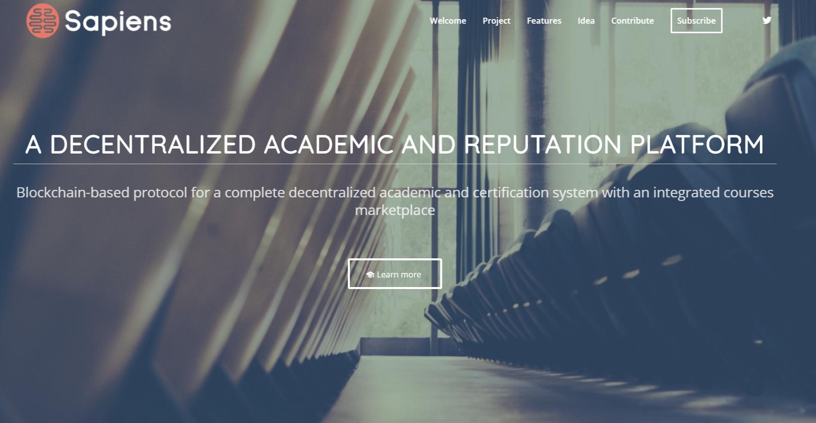 Sapiens Project Blockchain for Academia
