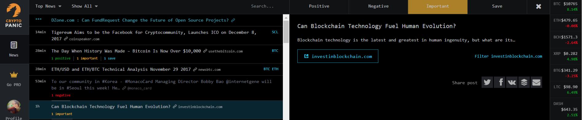 CryptoPanic voting